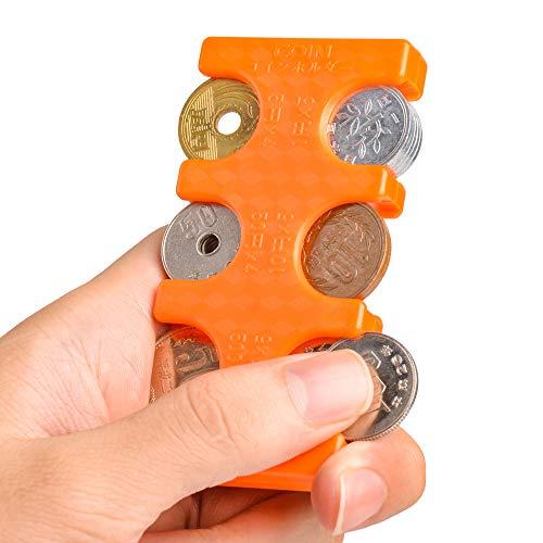 携帯用コインホルダー Olycism コイン収納 貨幣 コインケース 小銭の整理に便利 コイン収納 コインを分類できる 軽量 コンパクト 片手で取り出せ 小銭財布2775円収納でき (オレンジ)