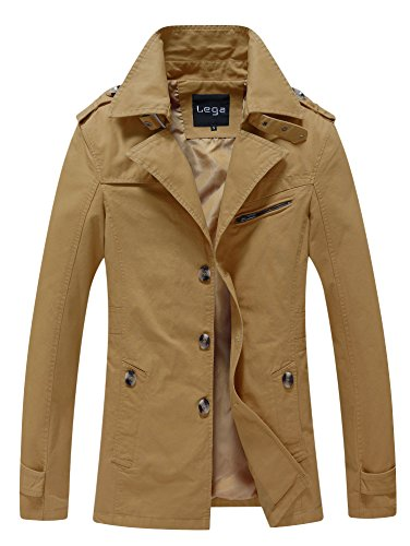 Lega Men's Fall Trench Coat Cotton Belt Outdoor Jacket(Dark khaki,US XS/Asian XL)