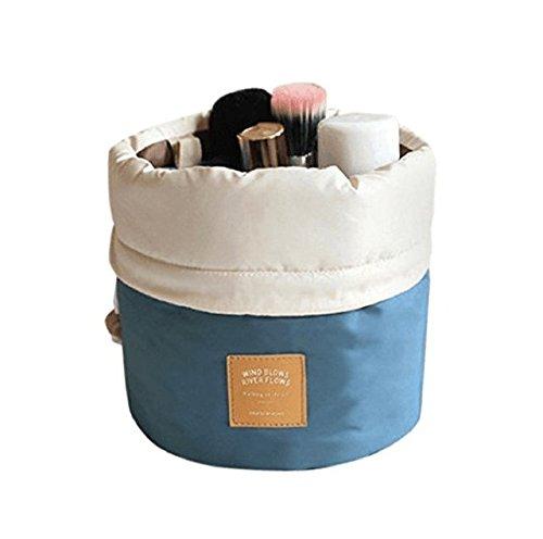 Aulei Runden Kulturbeutel Kordelzug Waschbeutel Make up kosmetische Reisetaschen Wash Bag Blau