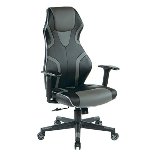 OSP Home Furnishings Rogue High-Back LED Lit Gaming Chair, Black...