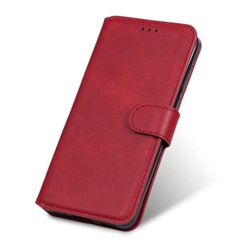 JIAFEI Coque pour Realme C21, Premium PU Cuir Mature et Stable Étui Flip Portefeuille Smartphone, avec Crédit Carte Fente et Pliage Support, Rouge