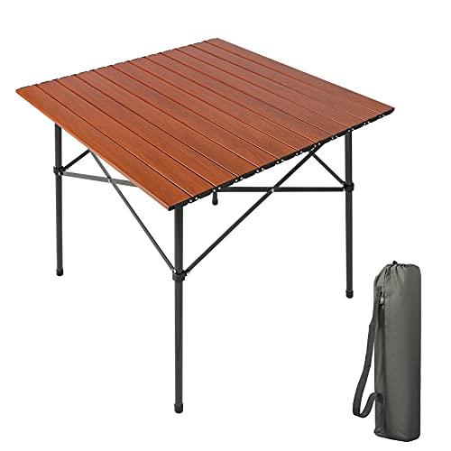 EVER ADVANCED Campingtisch Klapptisch mit Aluminium Tischplatte faltbar tragbar mit Tragetasche für 4 Personen 70 x 70cm (Brown)