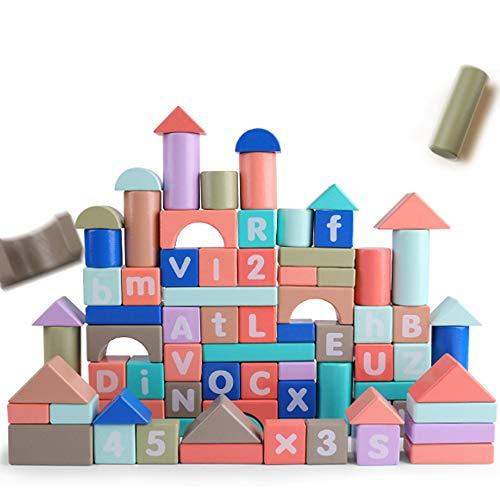 Rain City 2019 Numérique Alphabet Building Blocks pour Enfants, 100 Macarons en Bois avec 26 Blocs Lettres et 10 Sacs numériques Cadeau pour Les Enfants de Plus de Stockage de 3 Ans