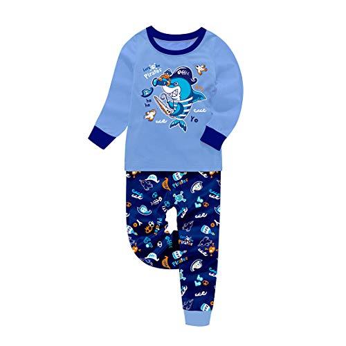 Baby Jungen Dinosaurier Schlafanzug für Weihnachten Kleinkind Kinder Cartoon Let's Be Pirates Shark Nachtwäsche Pjs Set Gr. 110, hai