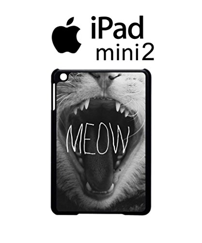Meow Roar Cat Kitten WTF Cool Funny Hipster Swag Case Back Cover Funda Negro Blanc Para iPAD Mini 2 Tablet White