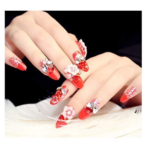 JIN HUA-fake nails Braut Nail Art Finished Produkt, Rot, Muster 3D Strass-Blumen-Dekoration falsche Nägel 24 Kästen, Adhesive