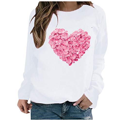 Hotkey Sweatshirts for Women, Valentine's Day Heart Shaped Printed T Shirts Casual Round Neck Pullover White