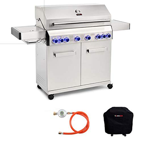 CosmoGrill Barbecue 6+2 Platinum Stainless Steel Gas Grill BBQ - Silver With Cover