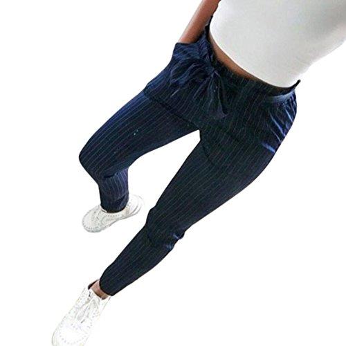 Damen Hosen Sommer LHWY Frauen Gestreifte Hohe Taille Freizeithosen Elegant Pluderhosen Teen Mädchen Bowtie Elastische Sports Slim Gerade Lang Shorts (S, Dark Blue)