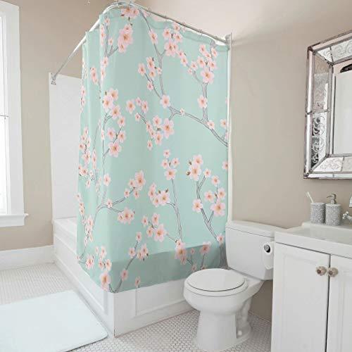 Gamoii Pfirsichblüte Kirschblüten Blau Duschvorhang Bad Gardinen Mode Badewanne Gardinen Wasserdicht Shower Curtain mit Ringe White 120x200cm