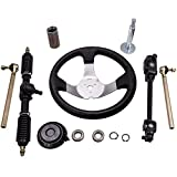 maXpeedingrods Steering Wheel Assembly & Adjustable Steering Shaft & Tie Rod Gear Rack and Pinion fit for 110cc Go Kart