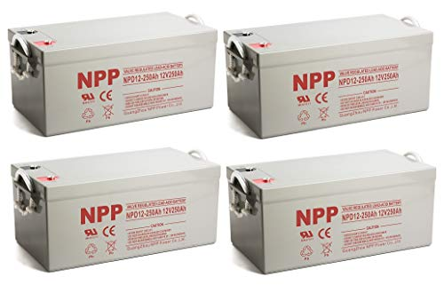 NPP NPD12-250Ah AGM Rechargeable Sealed Lead Acid 8D Deep Cycle 12V 250Ah Battery with Button Style Terminals (4 Pack)