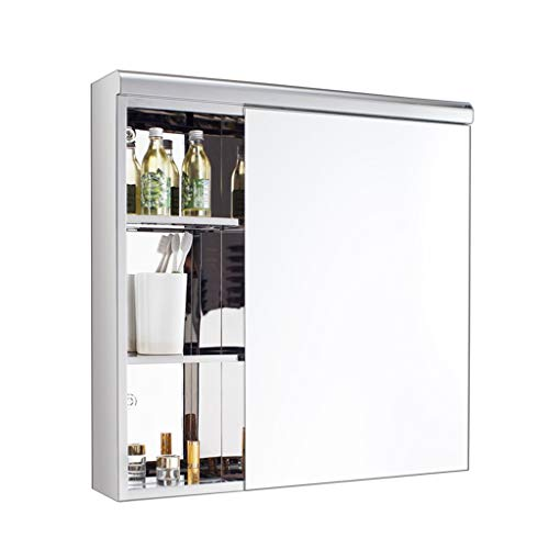 Roestvrij stalen schuifdeuren spiegelkast Badkamersijdelheid Spiegel boven de gootsteen Mannen scheerspiegel kan worden gedraaid 180 graden (Color : Silver, Size : 70 * 60cm)