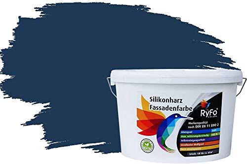 RyFo Colors Silikonharz Fassadenfarbe Lotuseffekt Trend Saphirblau 10l - bunte Fassadenfarbe, weitere Blau Farbtöne und Größen erhältlich, Deckkraft Klasse 1