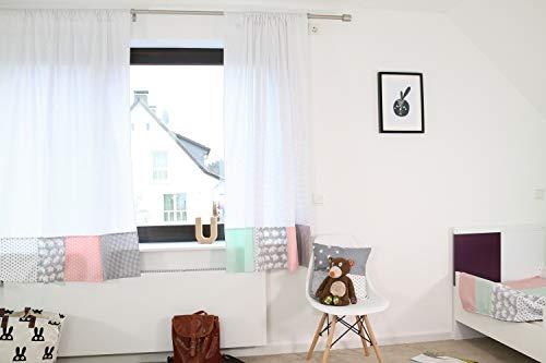 ULLENBOOM ® 2er Set Vorhänge Kinderzimmer 140x170 cm Elefant Mint Rosa (Made in EU) - Patchwork Vorhang Kinderzimmer & Babyzimmer, 2 Kindergardinen Schals aus Baumwolle, Motiv: Sterne, Punkte