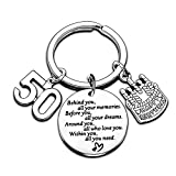 Birthday Keychain Birthday Gifts Key Chain Gifts for Women Girls Gifts Inspirational Key Ring Gifts for Mom Daughter Sister Christmas Gifts (50th)