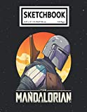 Sketchbook: The Mandalorian Sunset Profile Portrait Baby Yoda 110 Pages College Wide Ruled Composition Notebook Journal - Lined Paper Notebooks Size 7.5x9.25 for Work School Office