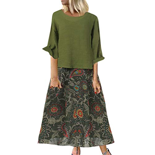 Jurken dames Dasongff vintage jurk met bedrukte - dubbeldelige jurk lang - vrouwen strandjurken elegant - tweedelige vintage zomerjurk grote maten S-3XL