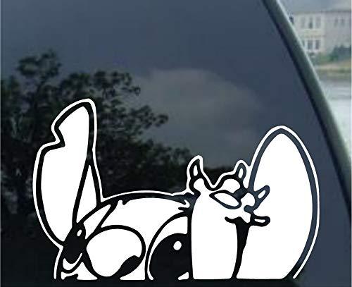 Graphix Lilo – Stitch – Waiving – Autofenster-Aufkleber für Auto, LKW, SUV, Motorrad, 14 cm, Weiß