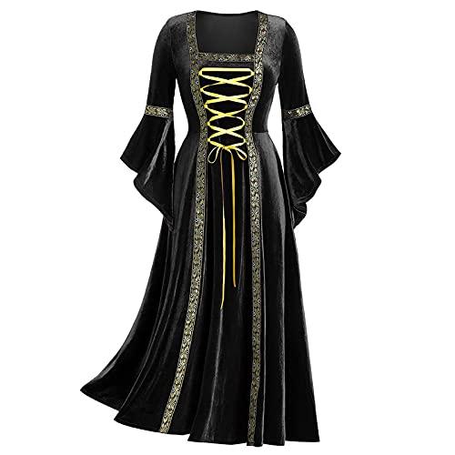 BIBOKAOKE Kleid Damen Mittelalter Lang Halloween kostüm Elegant Abendkleider Prinzessinnenkleid Gothic Punk Maxikleid Mittelalterliche Kleid mit Trompetenärmel Party Kostüm