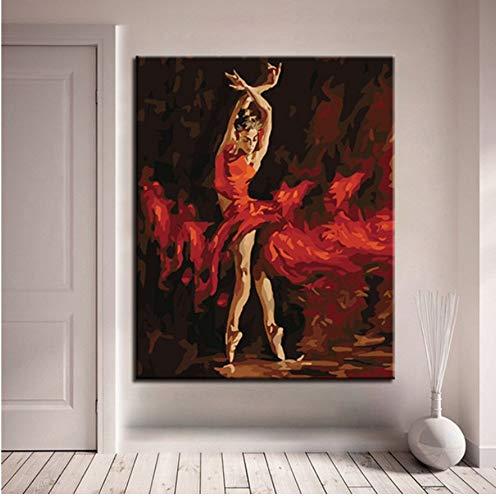 Pintura Al Óleo Por Números Diy Kits De Dibujo De Bailarina De Ballet De Fuego Pintados A Mano Para Colorear Sobre Lienzo Cuadros Sala De Estar Decoración De La Pared Sin Marco 40x50cm