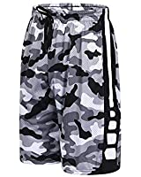 urbciety Mens Camo Basketball Shorts Athletic Gym Shorts with Pockets Camo White-XXL