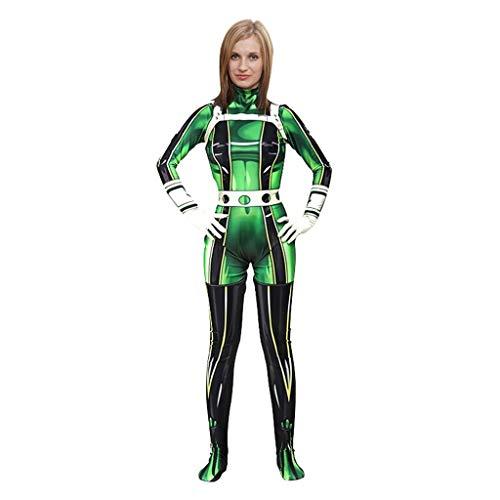 Lilongjiao Juego Anime mi hroe Universidad Rana soplando Ciruelo Lluvia versin Femenina Cosplay de una Pieza Ajustada Ropa Hero Academia Cosplay Disfraz (Color : Green, Size : XL)