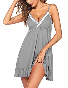 High Quatity Chemise sleepwear: Made of high-quality lace and modal, it's smooth, no itchin, gstretchy and lightweight very comfortable to wear for night. Sexy Design: These slip nightgowns features deep V plunge front, floral lace cups and adjustabl...