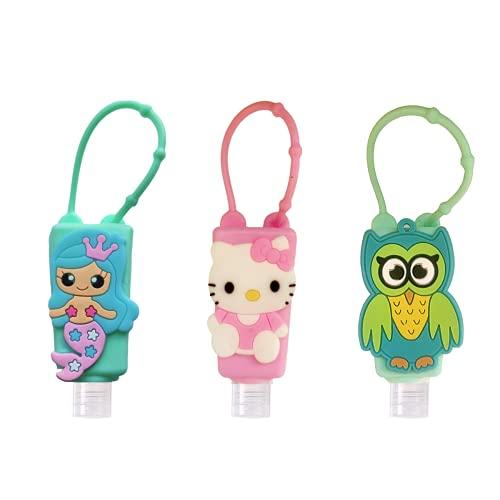 VIVU (3 Pcs) Hand Sanitizer Holder for hand bag 30ml kids cartoon characters with Refill Empty bottles