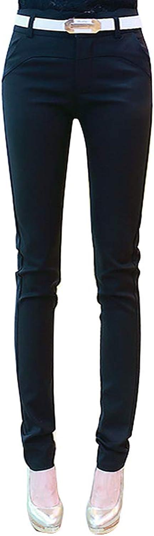 Absolufun Womens Elegant Mid Waist Comfortable Fit Slim Solid Long Pencil Pants