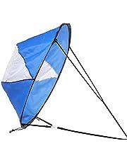 DierCosy Kayak Wind Sail Opvouwbare kajak windrichting paddle Board Wind Sail Kano Sup zeil met kijkvenster voor vissen, roeien, driften blauw