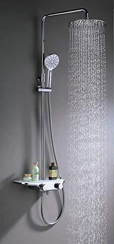 Kibath 125044 thermostatische douchezuil en badkuip Fe, met glazen design legplank 3-weg uitgang, glanzend chroom