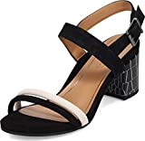 Vionic Women's Papaya Paula Heeled Sandal - Ladies Blocked Heel Sandals with Concealed Orthotic Arch Support Black and White Croc Suede 7 Medium US