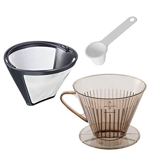Westmark Kaffee-Set, 3tlg., Dauerfilter, Kaffeefilter Gr. 4 + Dosierlöffel, Rostfreier Edelstahl/Kunststoff, Kaffee, Transparent/Weiß/Silber/Schwarz, 244322E8
