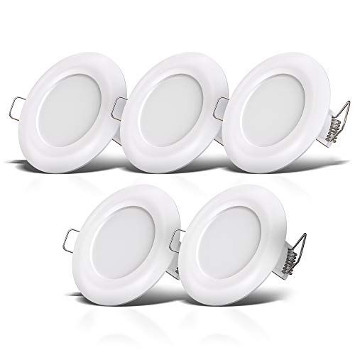 B.K.Licht lot de 5 spots salle de bain LED IP44 à encastrer ultraplats 25mm, Ø85mm, blancs, éclairage plafond encastrable, platines LED 5W, 460Lm, blanc neutre 4000K
