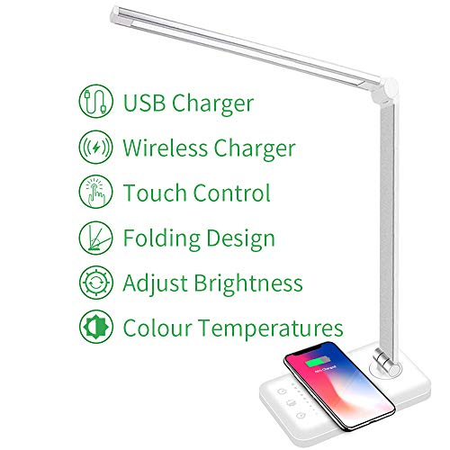 LED Desk Lamp with Wireless Charger USB Charging Port 5 Brightness Level amp 5 Lighting Modes EyeCaring Dimmable for Work Study Touch Control 30/60min Auto Timer White