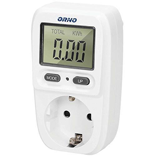 Orno WAT-419(GS) Stromzähler für Steckdose | Energiekosten-Messgerät mit LCD Bildschirm | Maximale Leistung 3680W | Energiemessgerät |