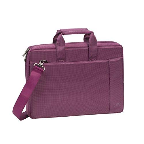 """RIVACASE Laptoptasche bis 15.6"""" – Kompakte Tasche mit zusätzlich gepolsterten Notebookfach & viel Stauraum – Lila"""