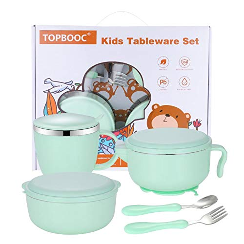 Children's Dinnerware Set, TOPBOOC Toddler Dinning Set,BPA Free Kids Tableware Include Bowl, Water Bottle, Suction Plate and Utensil Set Spoon and Fork(Green)