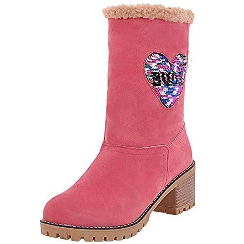 ELECTRI Femmes Hommes Hiver Couleur Unie Garder au Chaud Bottines Plus Velvet Boot Bottes de Neige Plates,imperméable à Chaussures,Chaud,Confortables,adhérence Solide