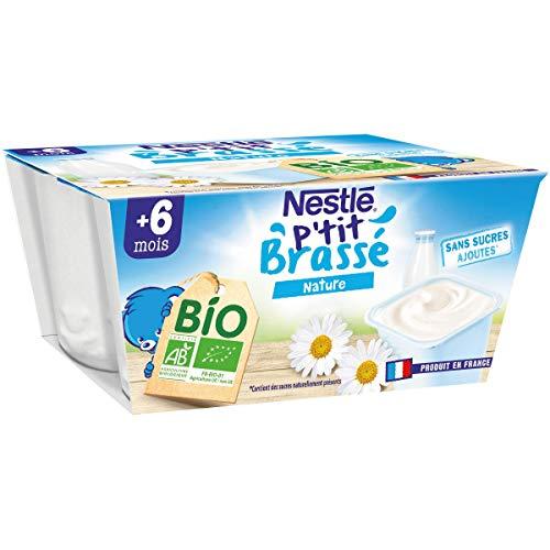 Nestlé Bébé P'tit Brassé BIO Nature Sucré - Laitage dès 6 mois - 4x90g - Pack de 6 ( 24 Laitages )