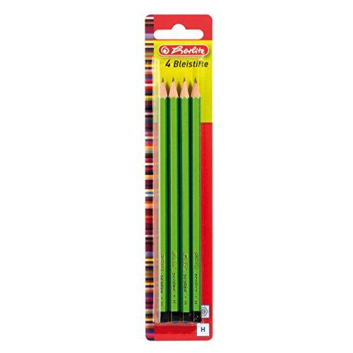Herlitz Bleistifte Scolair, H, bruchsichere Mine, 4 Stück auf Blisterkarte