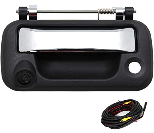 RED WOLF Chrome Tailgate Handle Reverse Backup Camera for Ford F150 2004-2014, F250 F350 F450 2008-2016 Tail gate Rear View Parking Camera