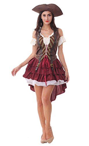 ShallGood Damen Rotkäppchen Halloween Weihnachten Performance Kleid Hoodie Schal Kostüm Pirat Hexe Cosplay Dress Kleid Passt Set Zombie Ghost Kleid Dress Pirat Grau One Size (De 34-40)