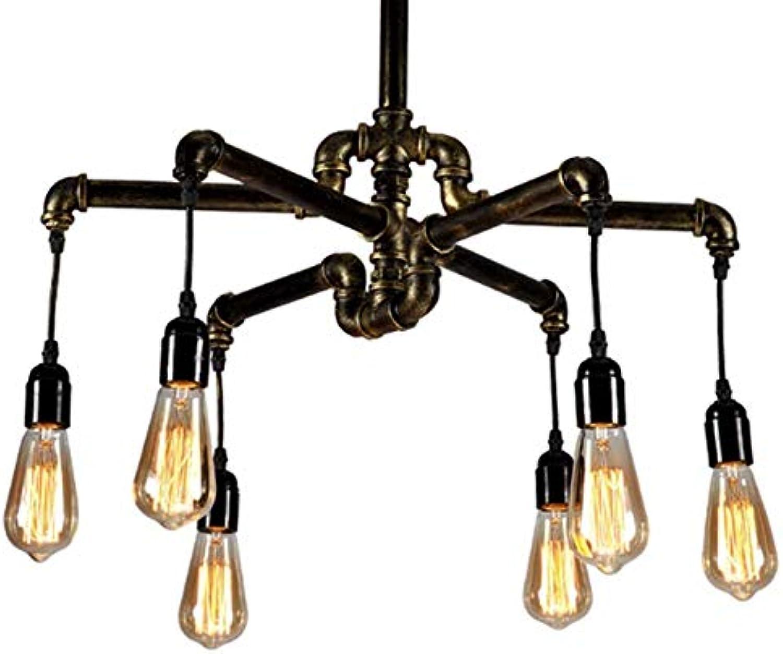 Ladiqi Industrial Vintage 6-Light Pipe Chandelier Light Hanging Pendant Lighting Table Light Fixture for Living Room Dining Room Kitchen