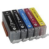 AQree - Cartucce di ricambio compatibili per Canon PGI-580XXL CLI-581XXL per Canon PIXMA TS6150 TS6151 TS6250 TS6251 TR7550 TS8150 TS8151 TS8152 TS8250 TS8251 TR8550 TS9150 TS9550 (5 pezzi)