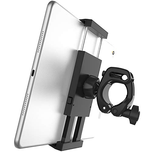 APPS2Car 2-in-1 Tablet Mount and Phone Holder Compatible with Stationary Bicycle, Treadmill, Elliptical, Spin Bike, Microphone Music Boompole Stand, Tripod Pole and Indoor Exercise Equipment
