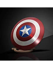 Xinyuwz 24-in Captain America Shield + Wooden Display Stand, 1:1 Metal Shield, 7050 Aircraft Grade Aluminum, Legends Series Replica Marvel Prop