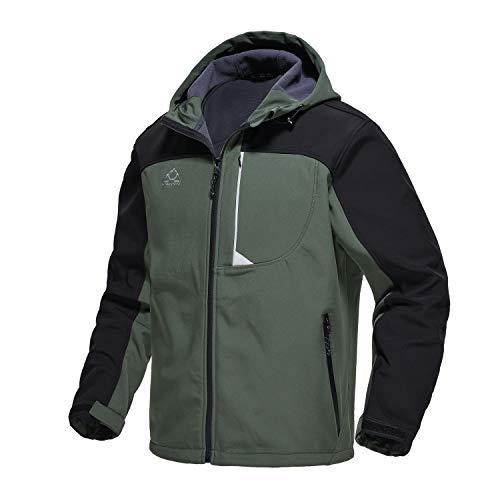 TBMPOY Men's Hooded Softshell Jacket Waterproof Windproof Ski Hiking Outerwear Fleece Lined Winter Coat Army Green M