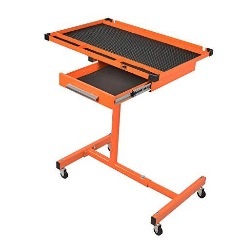 Aain, Orange Heavy-Duty Adjustable Work Drawer & Wheels, Mechanic Tray,Mobile Rolling Tool Table